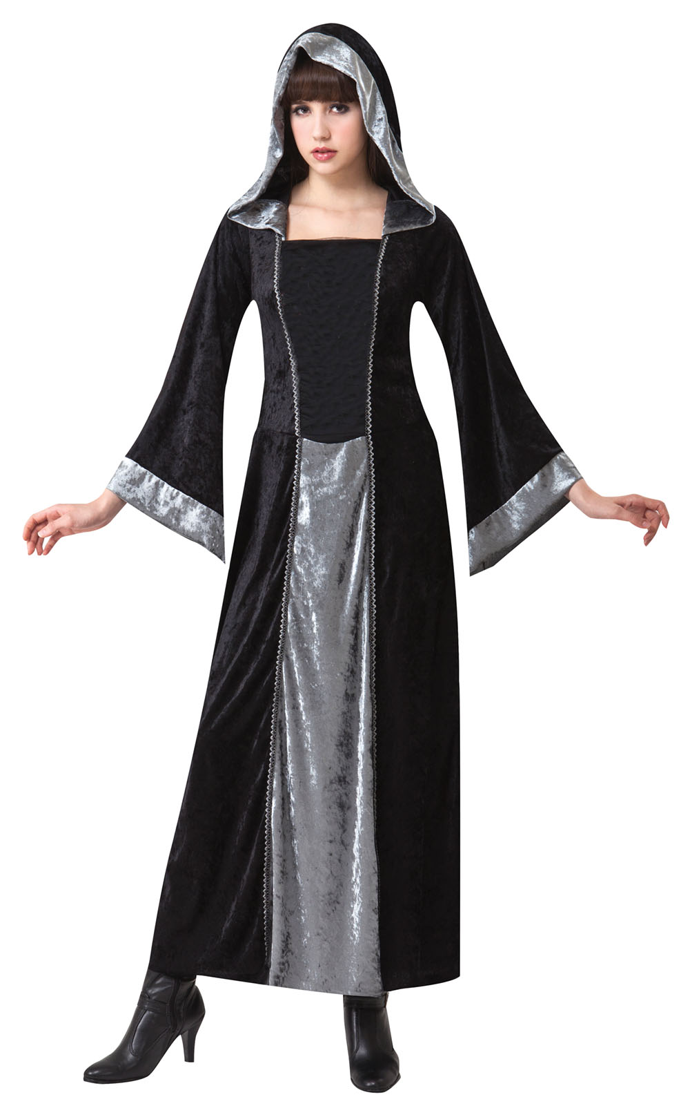 Ladies Black & Grey Gothic Halloween Gown Fancy Dress Costume Outfit UK 10-14
