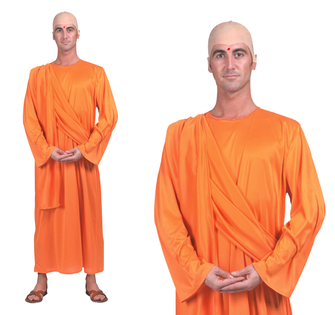 Mens Hare Krishna Indian Monk Robe Fancy Dress Costume Outfit One Size Plus Xl