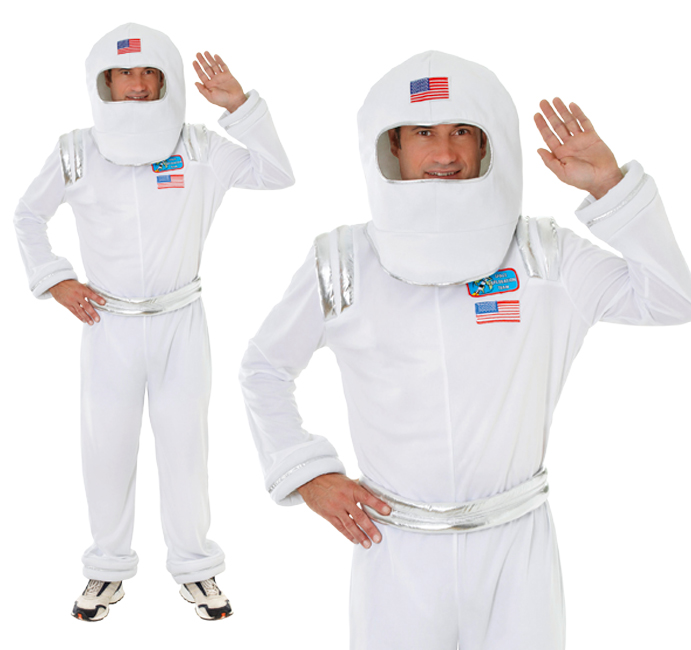 Mens White Spaceman Astronaut Adult Fancy Dress Costume Outfit Nasa