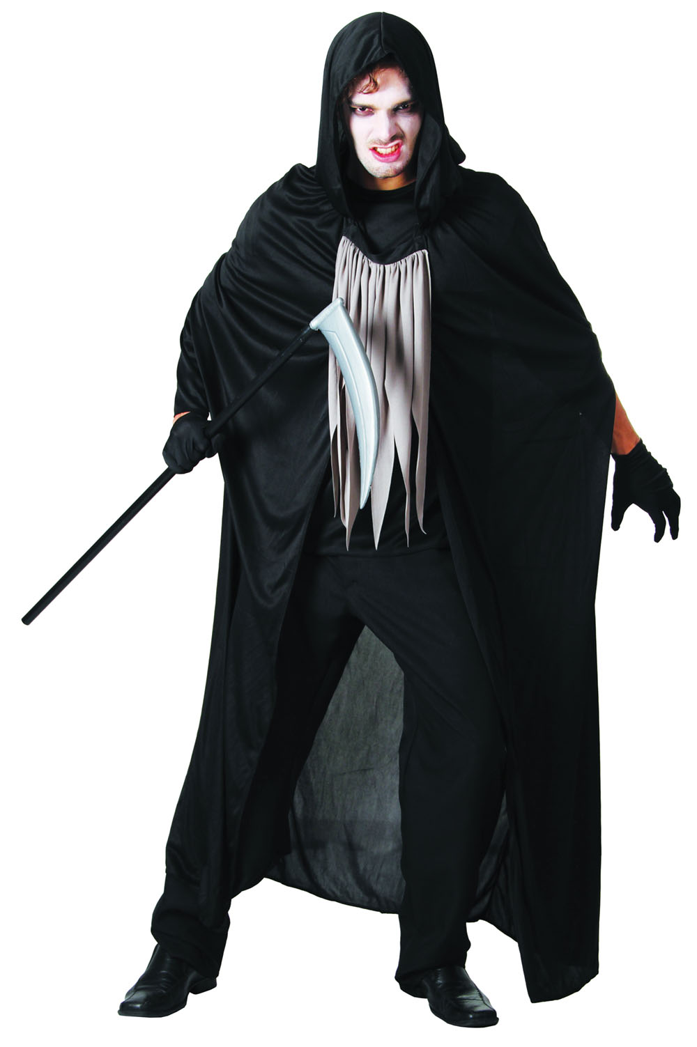 Mens Black & White Grim Reaper Fancy Dress Costume Halloween Death Outfit New