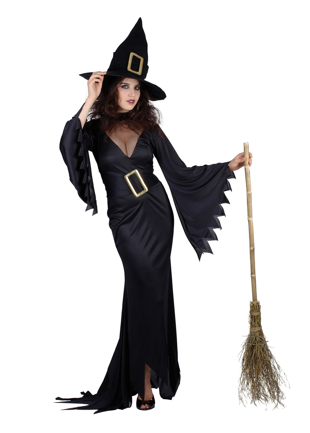 Ladies Sexy Black Witch Long Fancy Dress Costume Halloween Scary Party UK 10-14