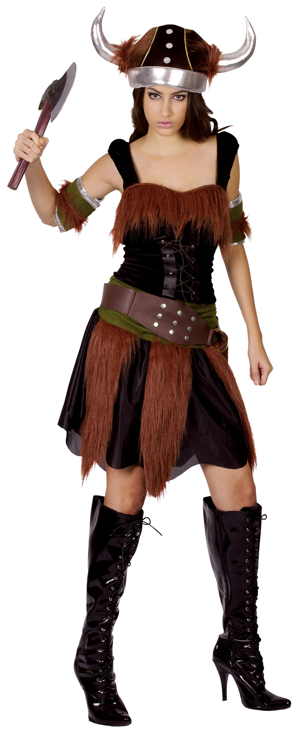 Ladies Historic Viking Bodicia Theme Fancy Dress Costume Black & Brown UK 10-14