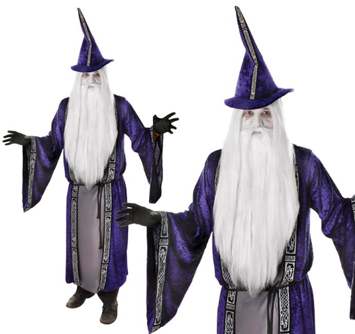 Adult Wizard Fancy Dress Costume Sorcerer Gandalf Warlock Halloween Outfit