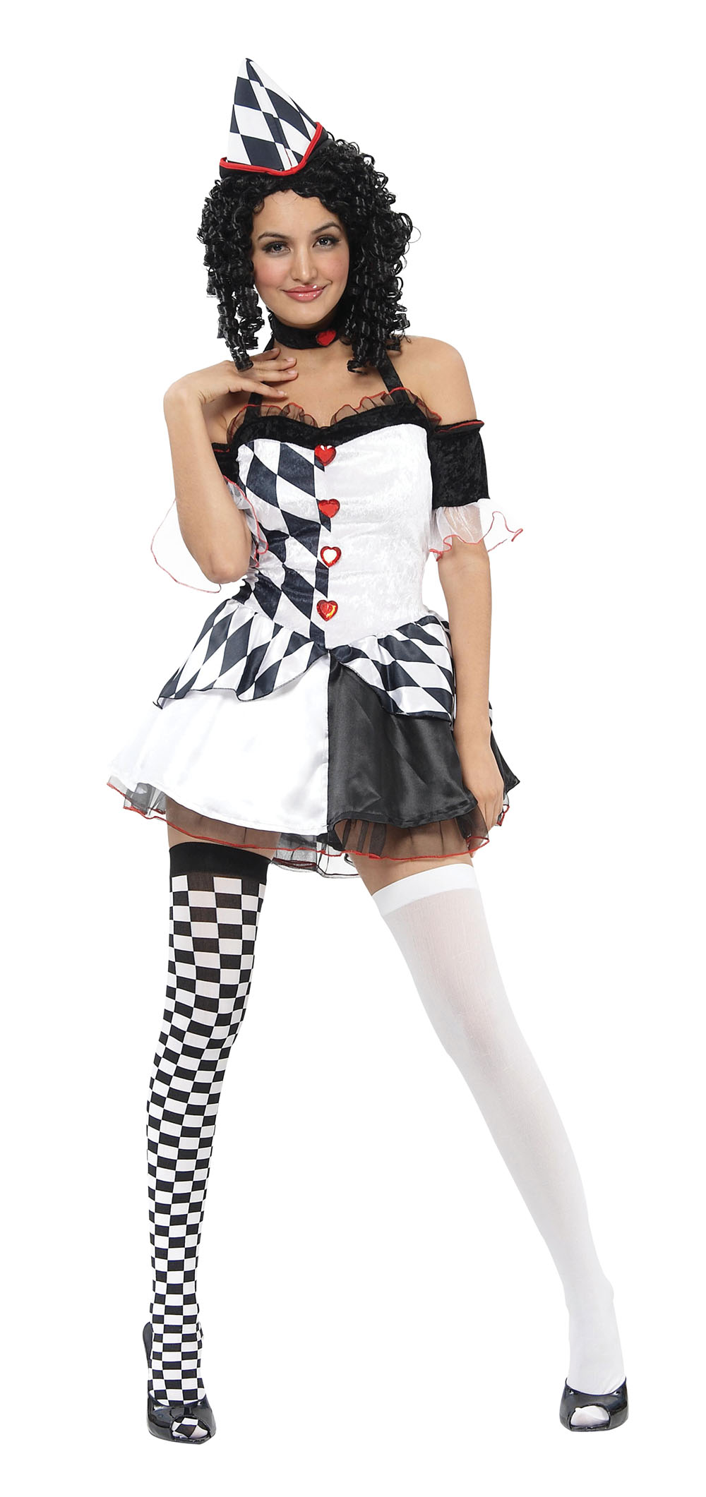 Ladies Sexy Harley Quinn Fancy Dess Costume Clown Halloween Outfit UK 10-14