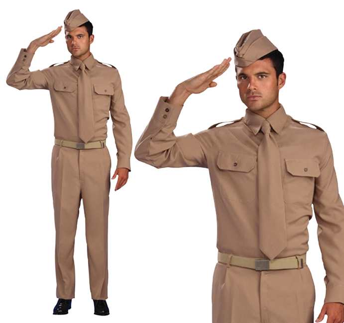 Mens Ww2 Private Soldier Fancy Dress Costume World War 2 Adult Outfit New