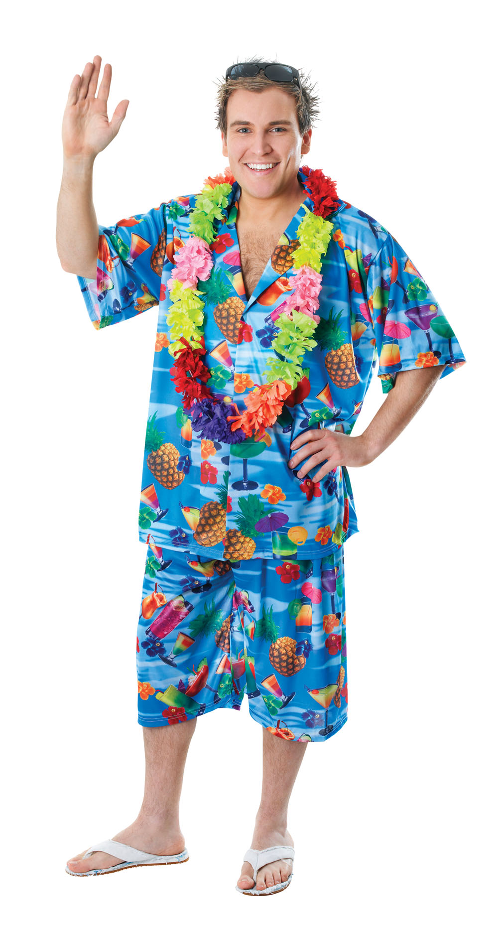 Mens XL Hawaiian Shorts & Shirt Suit Fancy Dress Costume Hawaii ...