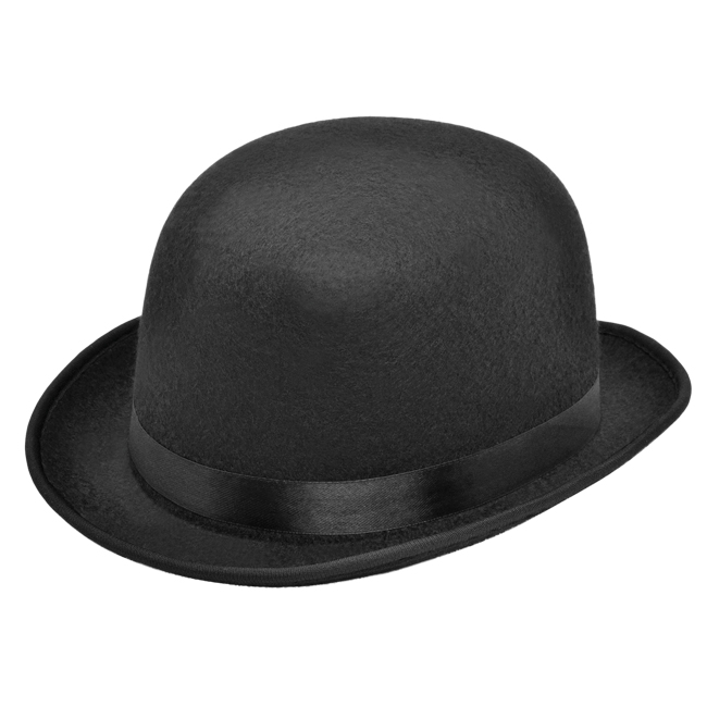 Adult Black Felt Bowler Hat Victorian Edwardian Fancy Dress Costume Prop