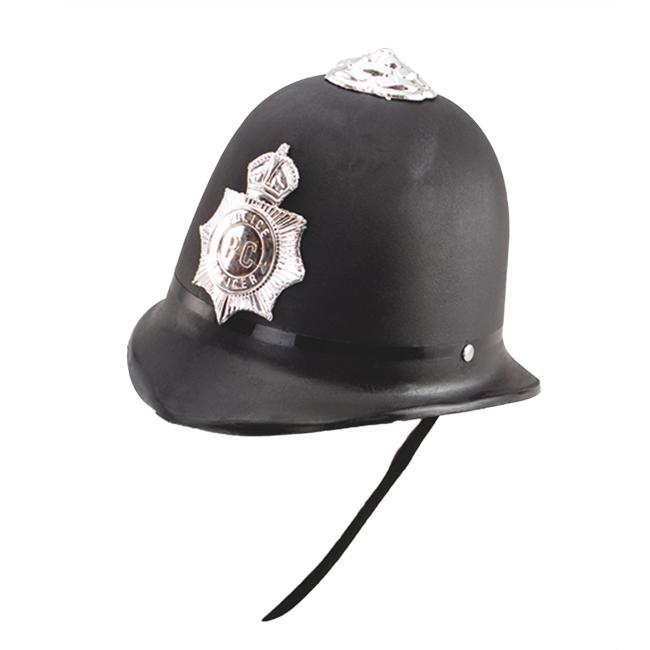 Adult Black Policeman Hemet Police Man Fancy Dress Costume Prop Hat