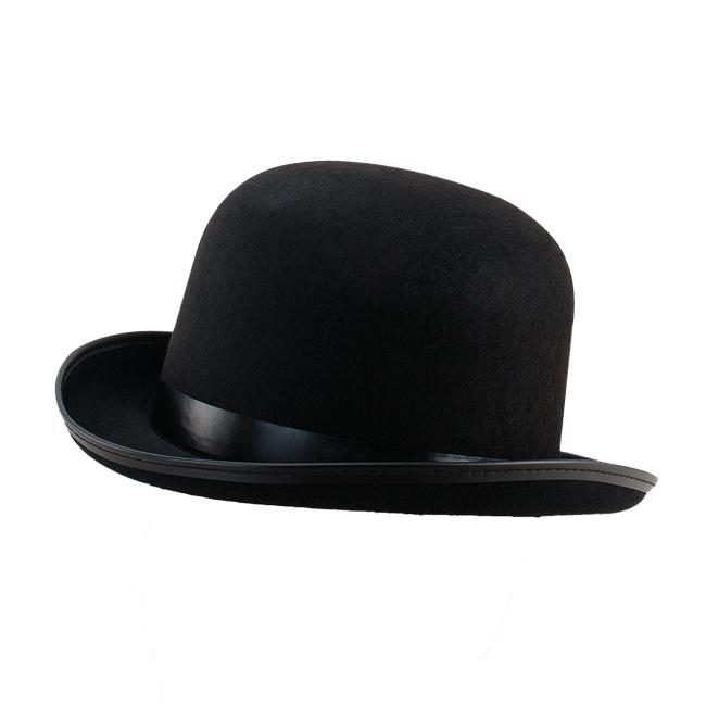Adult Black Bowler Hat Victorian Gentleman Fancy Dress Costume Prop
