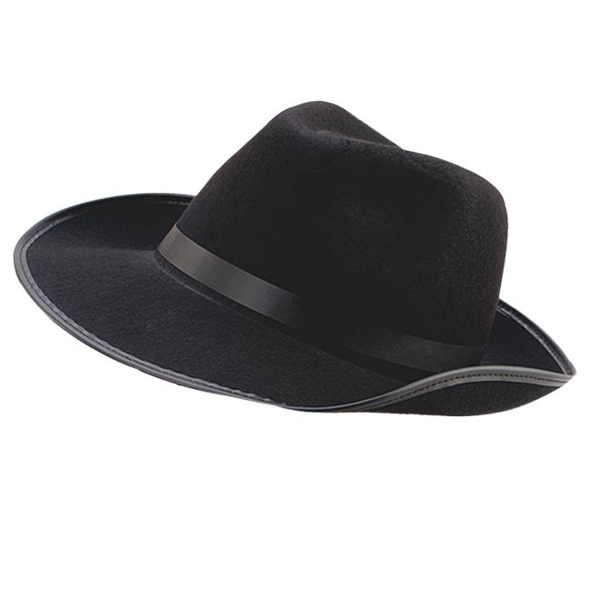 Adult Black Felt Gangster Hat Bugsy Malone Al Capone Fancy Dress Prop