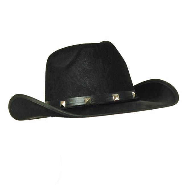 Adult Black Felt Cowboy Hat Studded Stetson Fancy Dress Prop