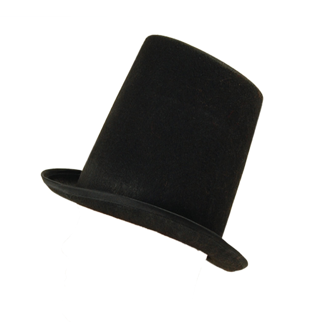 Adult Black Stovepipe Top Hat Victorian Magician 20S Fancy Dress Costume Prop
