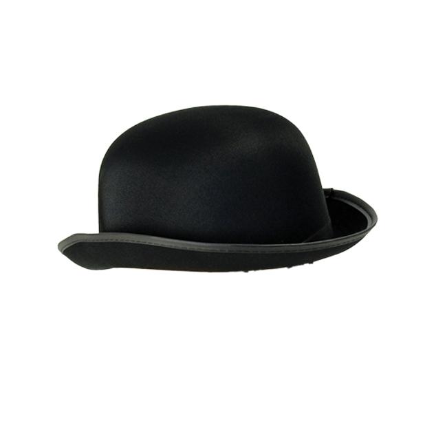 Adult Bowler Hat Black Satin Finish Victorian Edwardian 30S Fancy Dress Costume