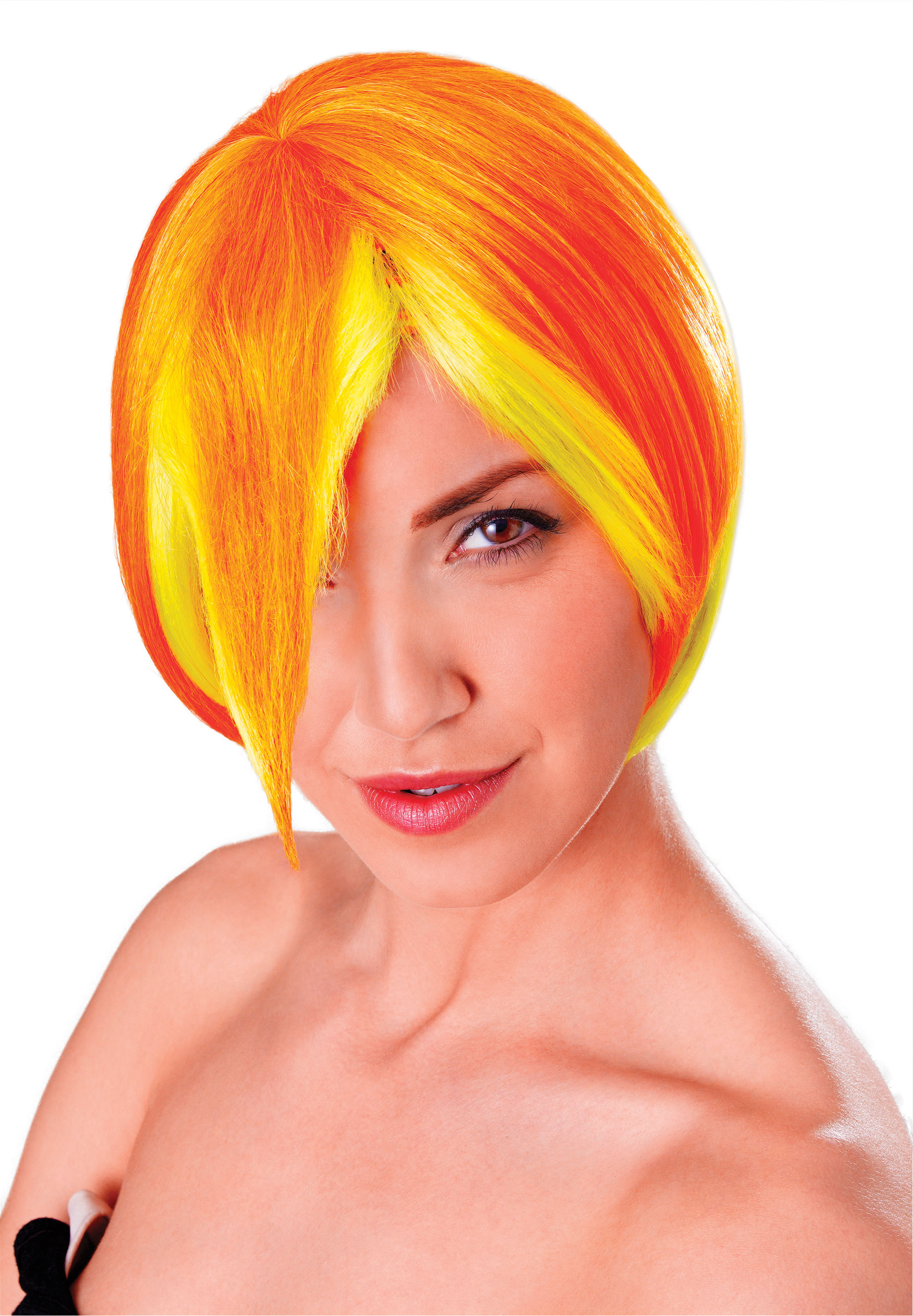 Ladies Yellow & Orange Cosplay Manga Short Wig Womens Fancy Dress Accessory