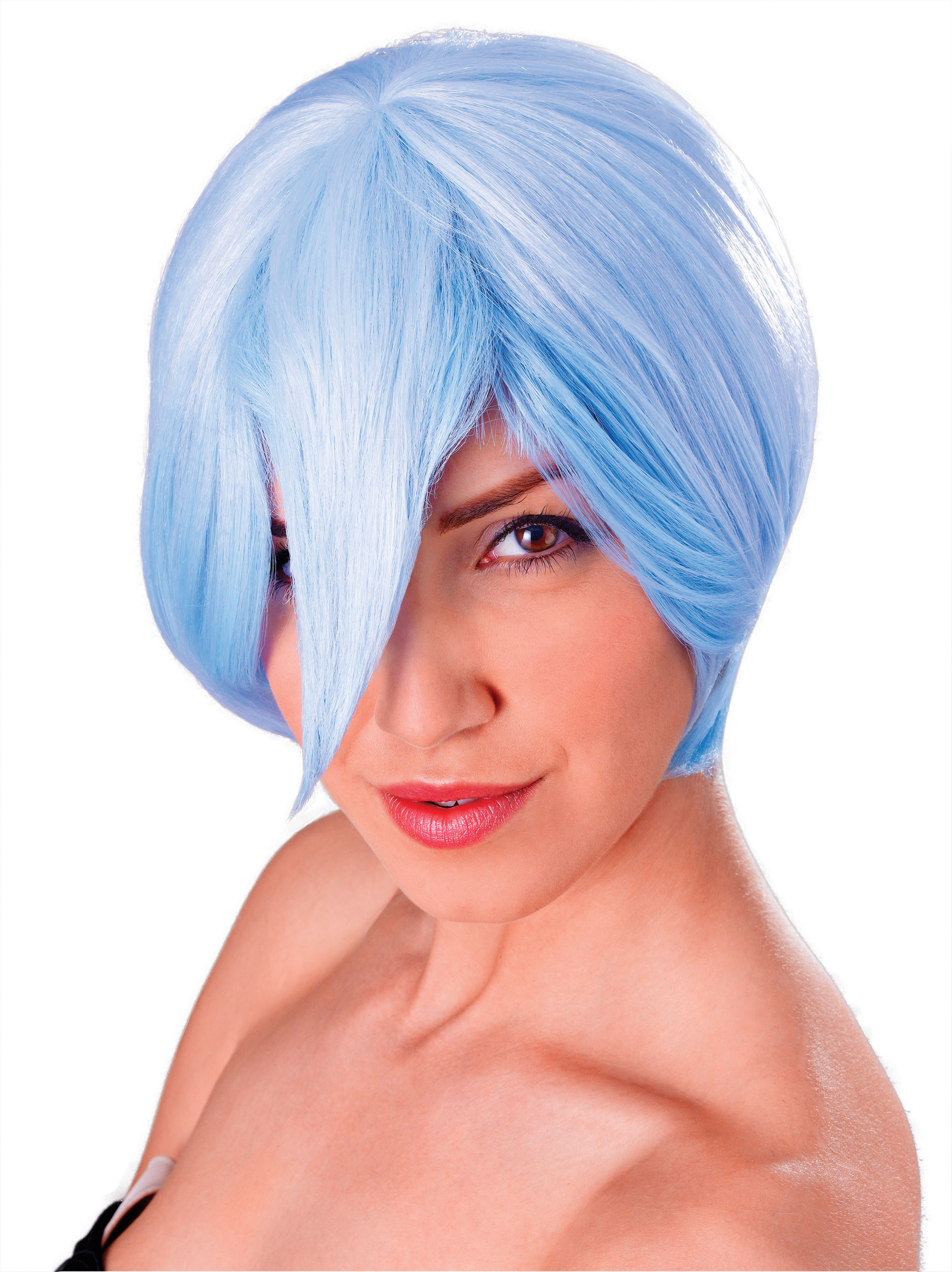 Ladies Blue & White Cosplay Manga Short Wig Womens Fancy Dress Accessory