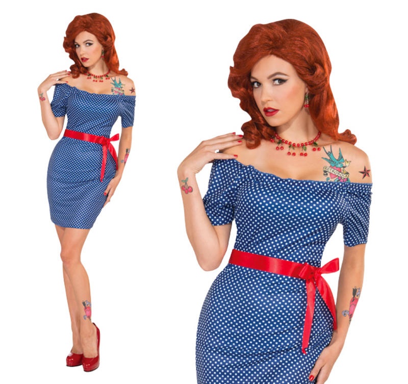 Ladies Betty Blue Outfit Rock N Roll Fancy Dress Costume 50s 60s Pin Up UK  10,14