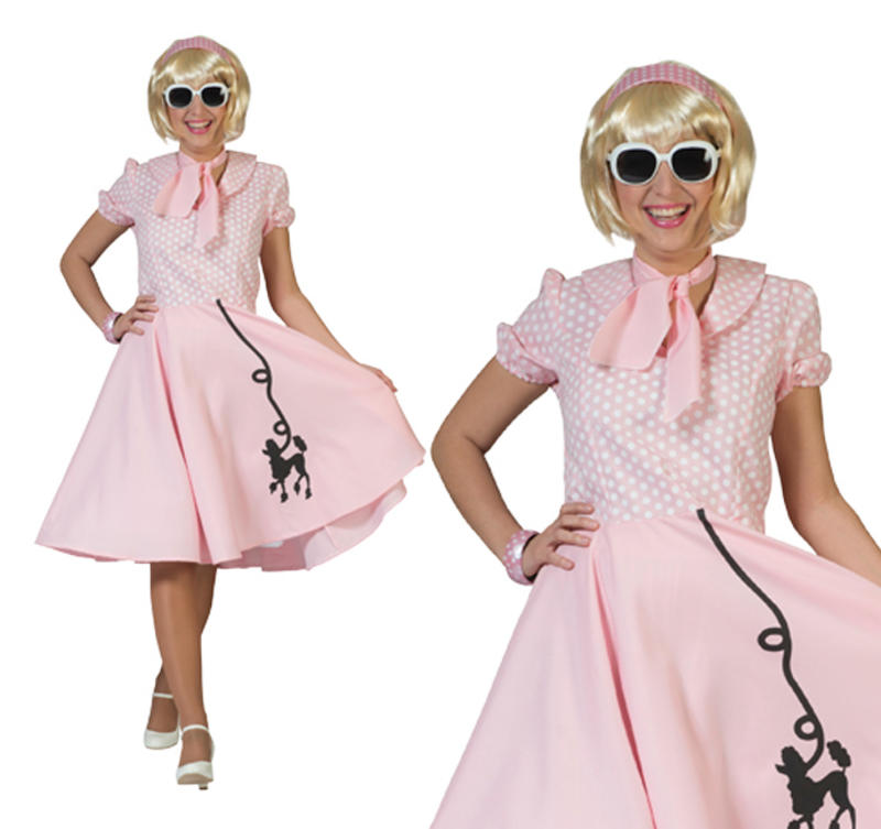 ee636352cc9ba Ladies Pink Rock N Roll Poodle Fancy Dress Costume 1950S Grease Outfit UK  10-14