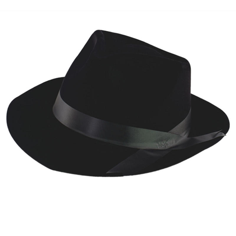 39972f789bb42 Black Flock Gangster Hat Al Capone Fancy Dress Costume Outfit Accessory.  zoom Hover or click to enlarge. 2