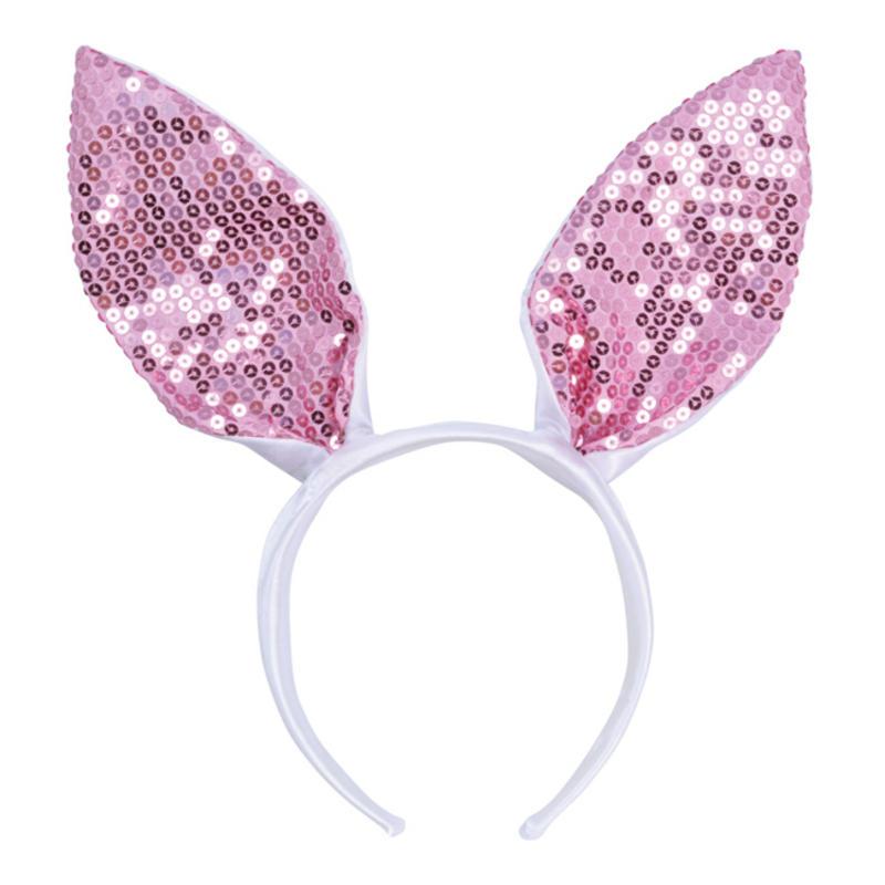 White & Pink Sequin Bunny Rabbit Ears Animal Fancy Dress Costume Prop