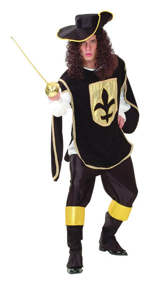 Mens Black Three Musketers Fancy Dress Costume Legend Musketeer Hero Outfit