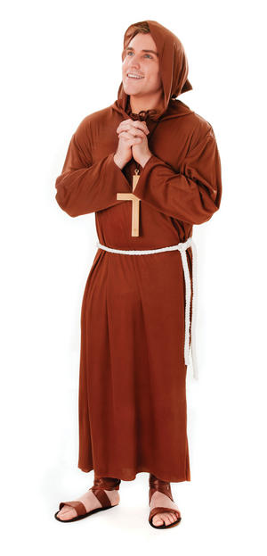 Mens Brown Monk Robe Gown Fancy Dress Costume Historic Religion Man Outfit