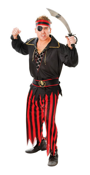 Mens Black & Red Pirates Fancy Dress Costume Ships Party Halloween Outfit New