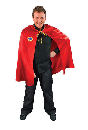 Mens Red & Yellow Superhero Cape Fancy Dress Costumer Superman Spiderman