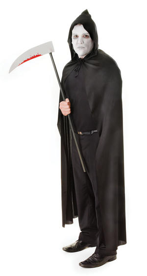 Mens Black Hooded Cape Grim Reaper Halloween Fancy Dress Costume Outfit New