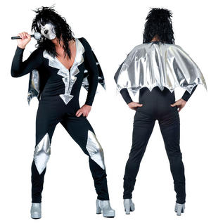 Mens Glam Rock Jumpsuit Fancy Dress Costume Outfit Alice Cooper Kiss Halloween M