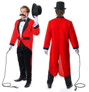 Mens Ringmaster Ring Master Fancy Dress Costume Tailcoat Lion Tamer Outfit New