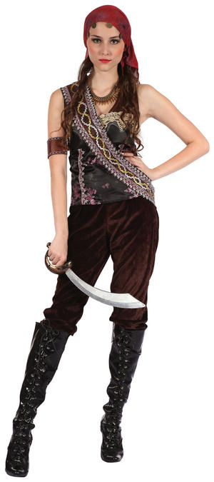 Ladies Pirate Fancy Dress Costume Gypsy Womens Outfit UK 10-14