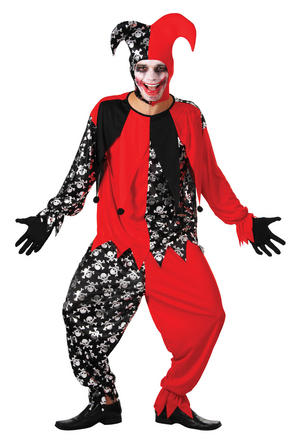 Mens Evil Jester Black & Red Halloween Fancy Dress Costume Joker Card Outfit New