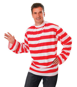 Mens Red & White Stripy Shirt Top Fancy Dress Costume Outfit New
