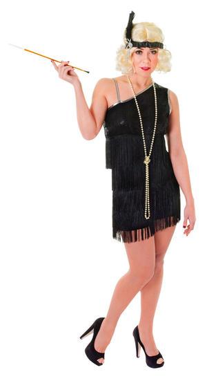 Ladies 1920s Black Flapper Fancy Dress Costume Charleston Womens Outfit UK 10-14
