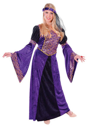 Ladies Purple Medieval Maiden Fancy Dress Costume Lady Queen Outfit UK 10-14