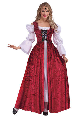 Ladies Historic Red Medieval Gown Fancy Dress Costume Queens Outfit UK 10-14