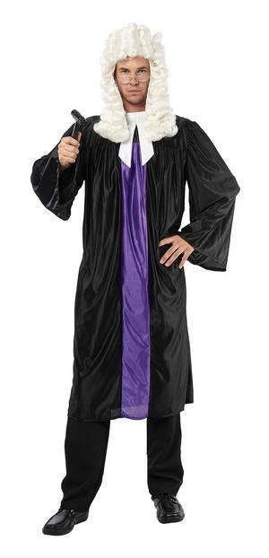 Mens Black & Purple Judge Gown Fancy Dress Costume Law Court Party Outfit