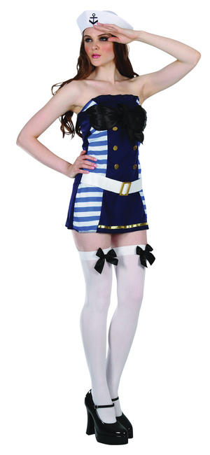 Ladies Flirty Navy Fancy Dress Costume Hat Sailor Blue Anchor Womens UK 10-14
