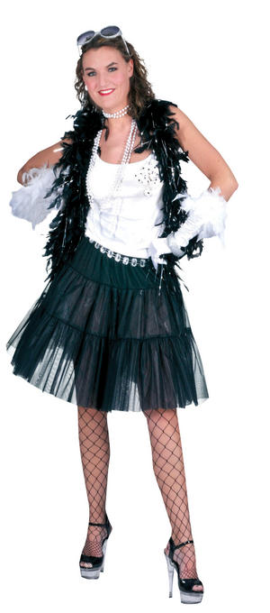 Ladies Long Black Petticoat Fancy Dress Costume Womens Outfit UK 10-14
