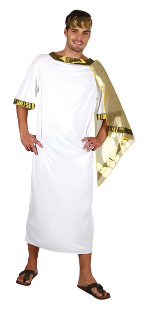 Mens Ancient Roman Man White Fancy Dress Costume Greek God Historic Outfit New