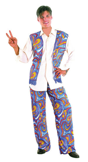 Mens Flower Power Hippy 1970's Fancy Dress Costume Groovy Blue 70's Outfit New