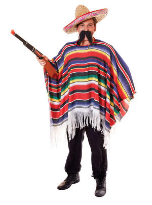 Mens Mexican Poncho Multicoloured Stripes Fancy Dress Costume Mexico Outfit New