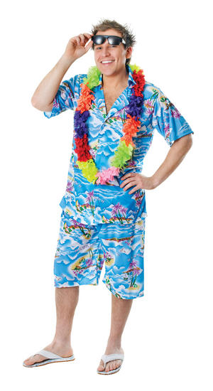 Mens Hawaiian Shorts & Shirt Beach Fancy Dress Costume Hawaii Surfer Outfit New