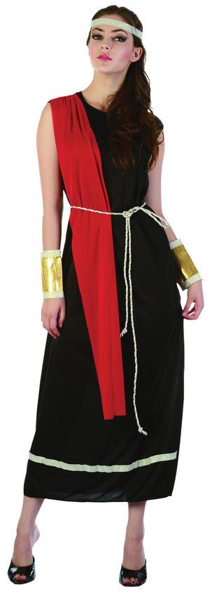 Ladies Black Roman Empress Toga Fancy Dress Party Costume Womens UK 10-14