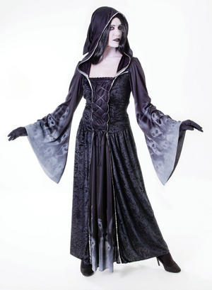 Ladies Forgotten Souls Hooded Black Gown Fancy Dress Costume Halloween UK 10-14