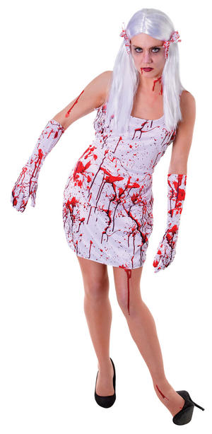 Ladies White Bloody Zombie Fancy Dress Costume Scary Halloween Womens UK 10-14