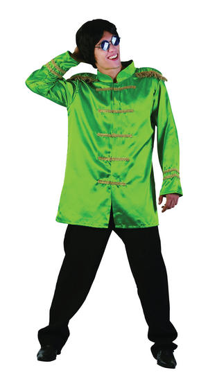 Mens Green Sergeant Pepper The Beetles Jacket 1960's Music Fancy Dress Costume
