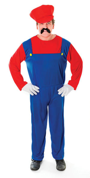 Men Super Mario Red & Blue Fancy Dress Costume with Hat Adult Mans Outfit New