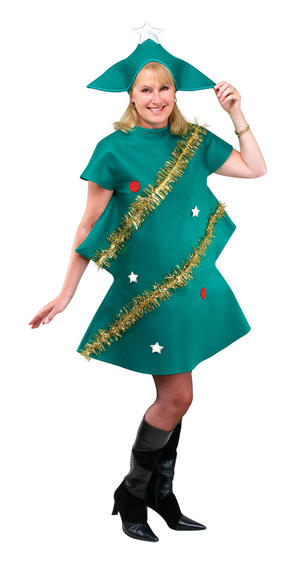 Adult Christmans Tree Fancy Dress Costume Festive Xmas Decoration Outfit Party