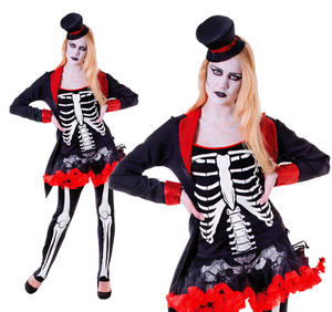 Ladies Mrs Bone Jangles Halloween Fancy Dress Costume Skeleton Outfit UK 10-14
